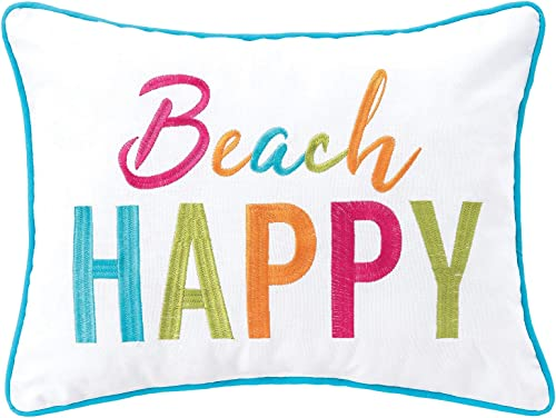 C F Home Beach Happy Pillow Embroidered Decorative Throw Pillow Summer for Couch Chair Living Room Bedroom 12 x 16 Multicolored