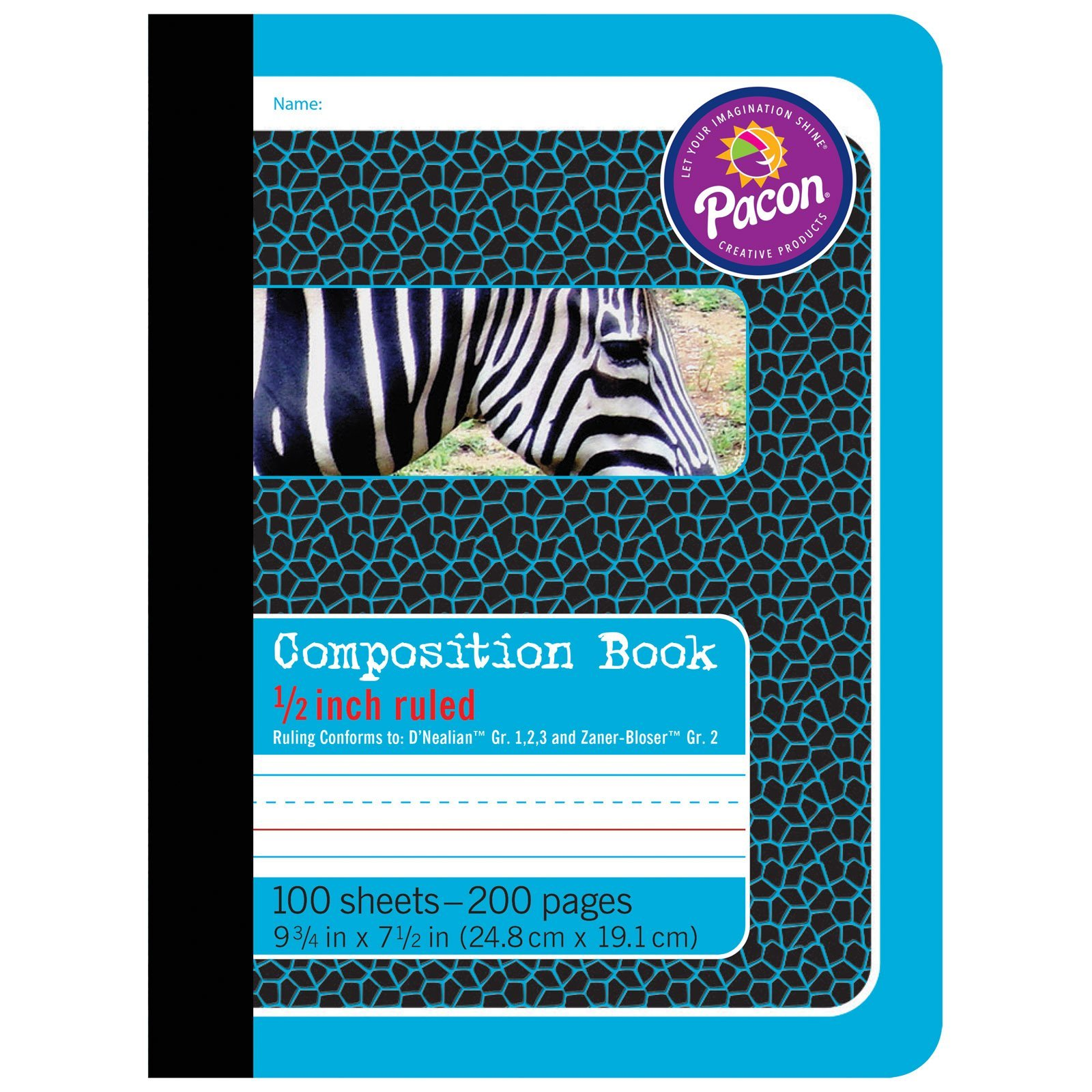 Pacon PAC2425BN Primary Composition Book, 1/2'' Ruled, Blue/Zebra, 9-3/4'' x 7-1/2'', 200 Pages, Pack of 12