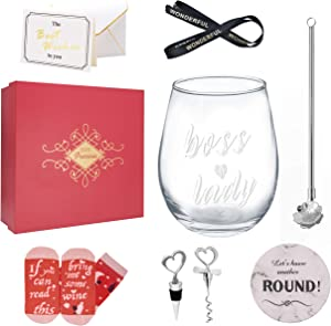Boss Lady (WHITE) – 12 Oz Wine Tumbler Cup Gift Set, Birthday Present for Female Friend, Christmas Wine Glass Cup Mug Perfect Present Set for Mom, Boss, Lady, Woman, Unique Gifts in Office, Family