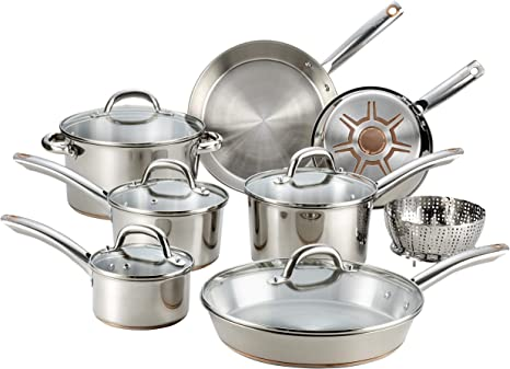 T-Fal C836SD Ultimate Stainless Steel Copper Bottom 13-Piece Cookware Set