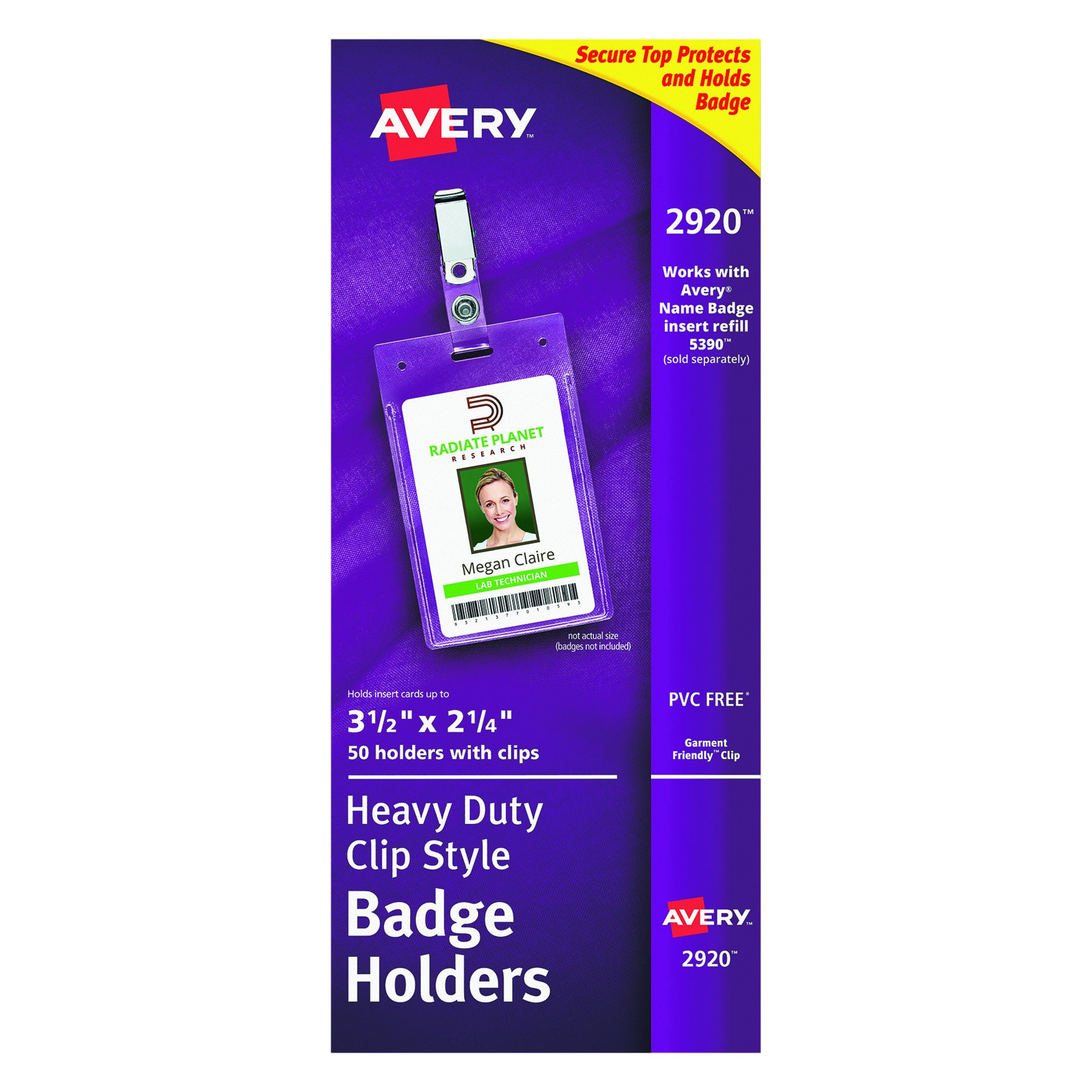 Avery Clear Heavy-Duty Clip Style Portrait Badge Holders, 3-1/2'' x 2-1/4'', Box of 50 (2920)