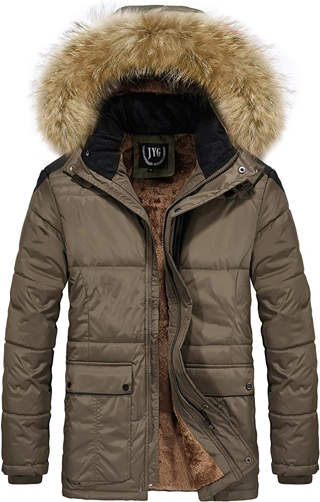 ca21eeecbb2 JYG Men's Winter Thicken Coat Quilted Puffer Jacket with Removable Hood ,Brown,Large