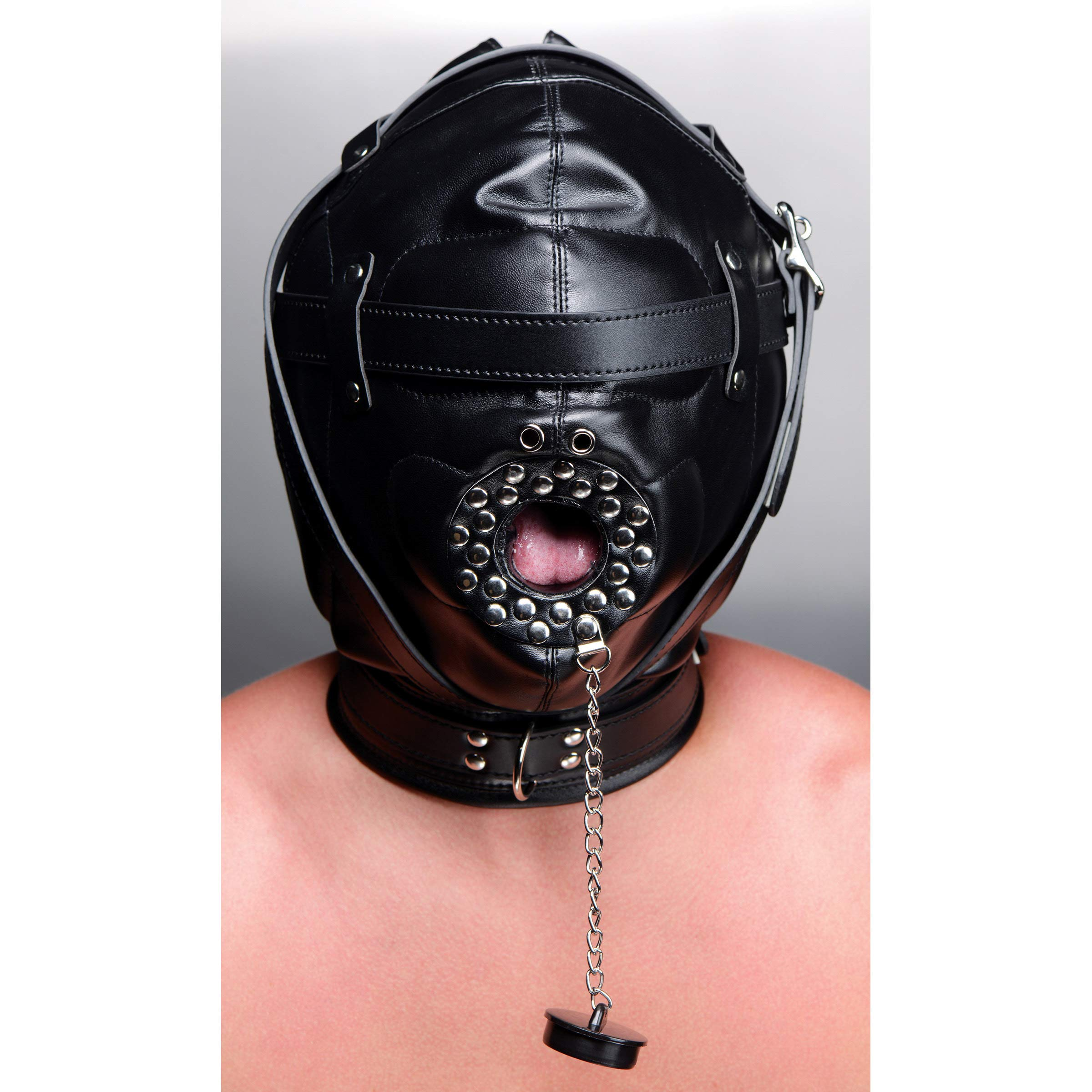 Strict Leather Sensory Deprivation Hood with Open Mouth Gag by Strict Leather