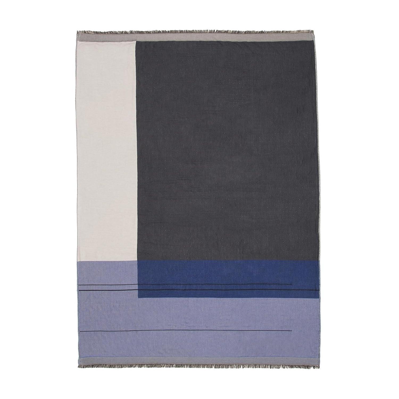 Ferm Living Colour Block Throw Plaid Tagesdecke, blau LxB 180x130cm chemisch reinigen