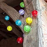 Catena di 10 luci LED con lanterne rotonde in tessuto impermeabile multicolore ad energia solare di Lights4fun