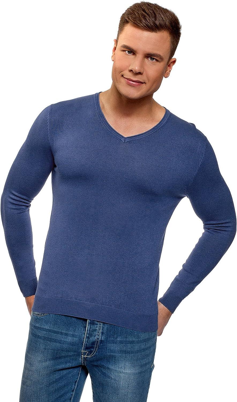 oodji Ultra Hombre Jersey B/ásico con Escote en V
