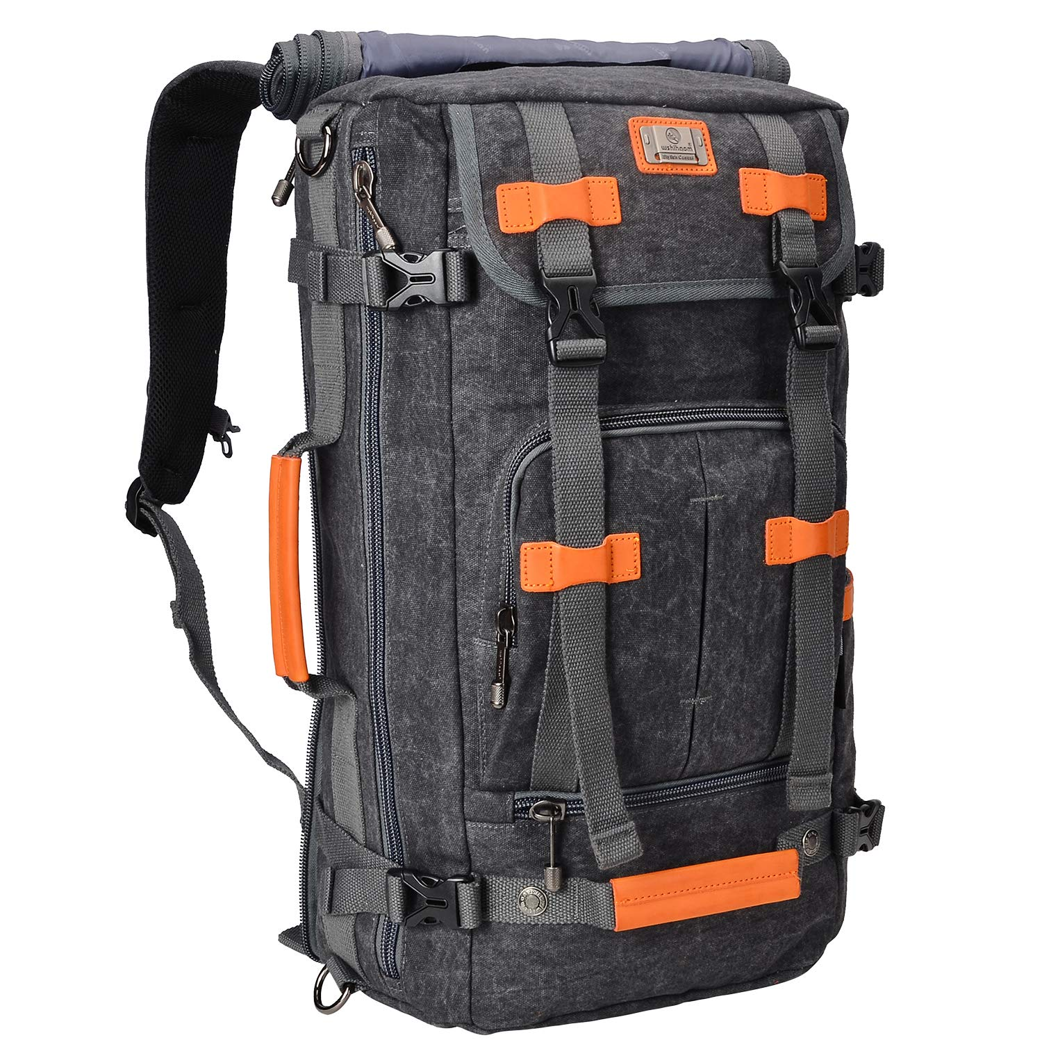 WITZMAN Canvas Backpack Vintage Travel Backpack Hiking Luggage Rucksack Laptop Bags A519 (22 inch black) by WITZMAN