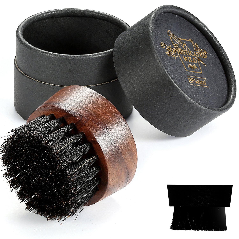 BFWood Beard Brush Boar Bristles Small Round Shape - Black Walnut