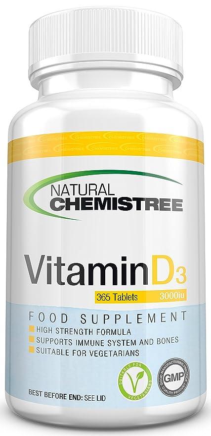 Pastillas de vitamina D 3000 UI de alta eficacia – Suministro para 12 meses (365