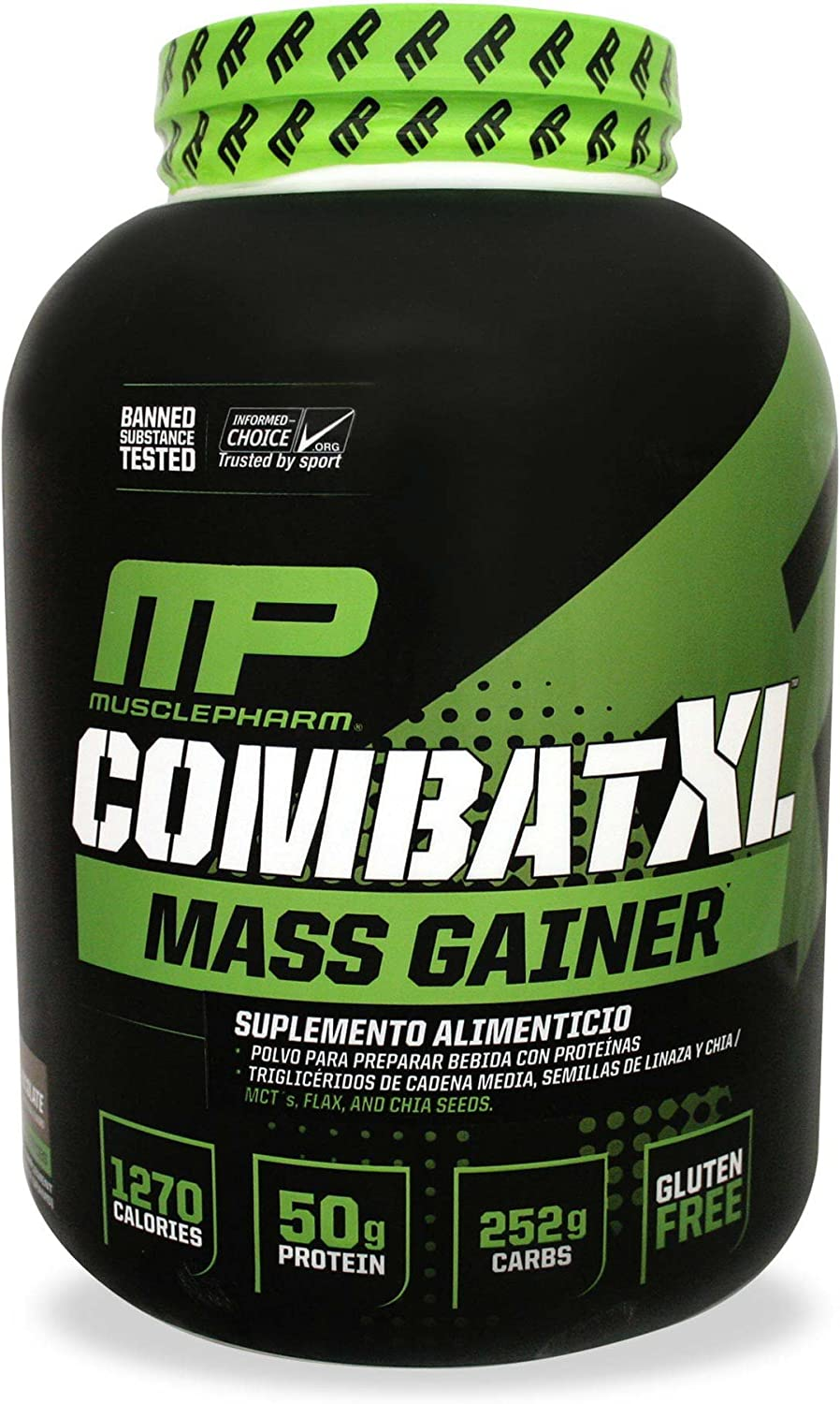 MusclePharm Combat XL Mass-Gainer Powder, Weight Gainer Protein Powder, 1270 Calories per Serving, 50 Grams of Protein, MCTS Flax and Chia Seeds, ...