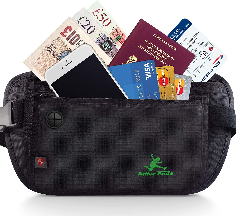 Sac de Voyage avec RFID-Blocage Portefeuille Cach/é de Voyage pour des Femme et des Homme Billets Money Belt pour Passeports Cartes de Cr/édit MUCO Ceinture de Voyage