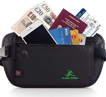 bienestar sistemático Desaparecer  Cinturón de viaje para protección el dinero y tarjeta de crédito - Riñonera  con RFID - Bolso Cartera Oculta de Viaje para Mujeres y Hombres: Amazon.es:  Equipaje