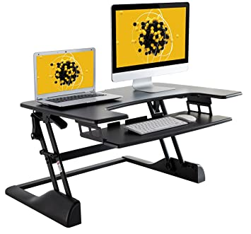 husky mounts fully assembled sturdy standing desk converter sit stand height adjustable computer desk 36u201d - Standing Computer Desk