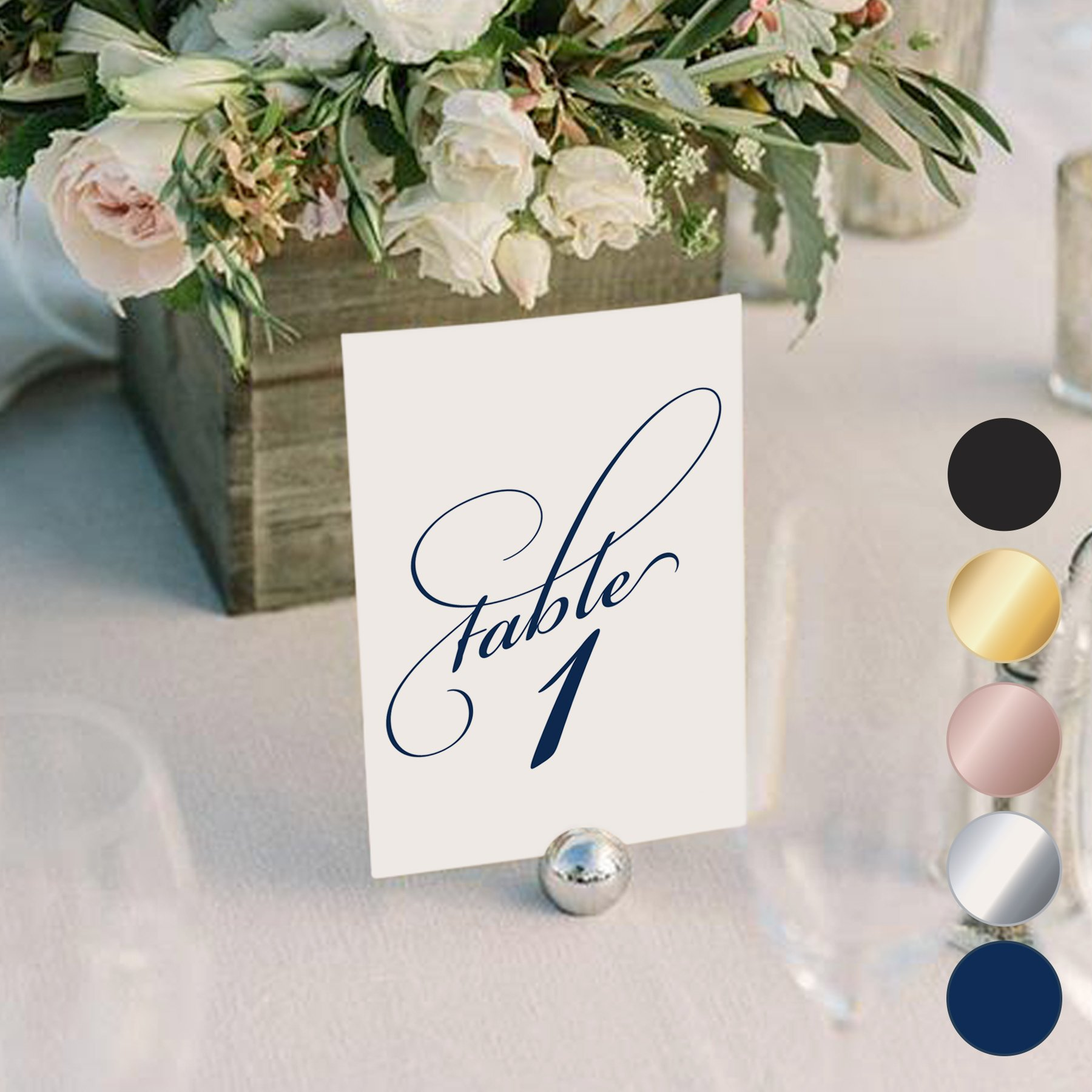Navy Wedding Table Numbers (Assorted Color Options Available), Double Sided 4x6 Calligraphy Design, Numbers 1-25 & Head Table Card Included — from Bliss Paper Boutique by Bliss Paper Boutique