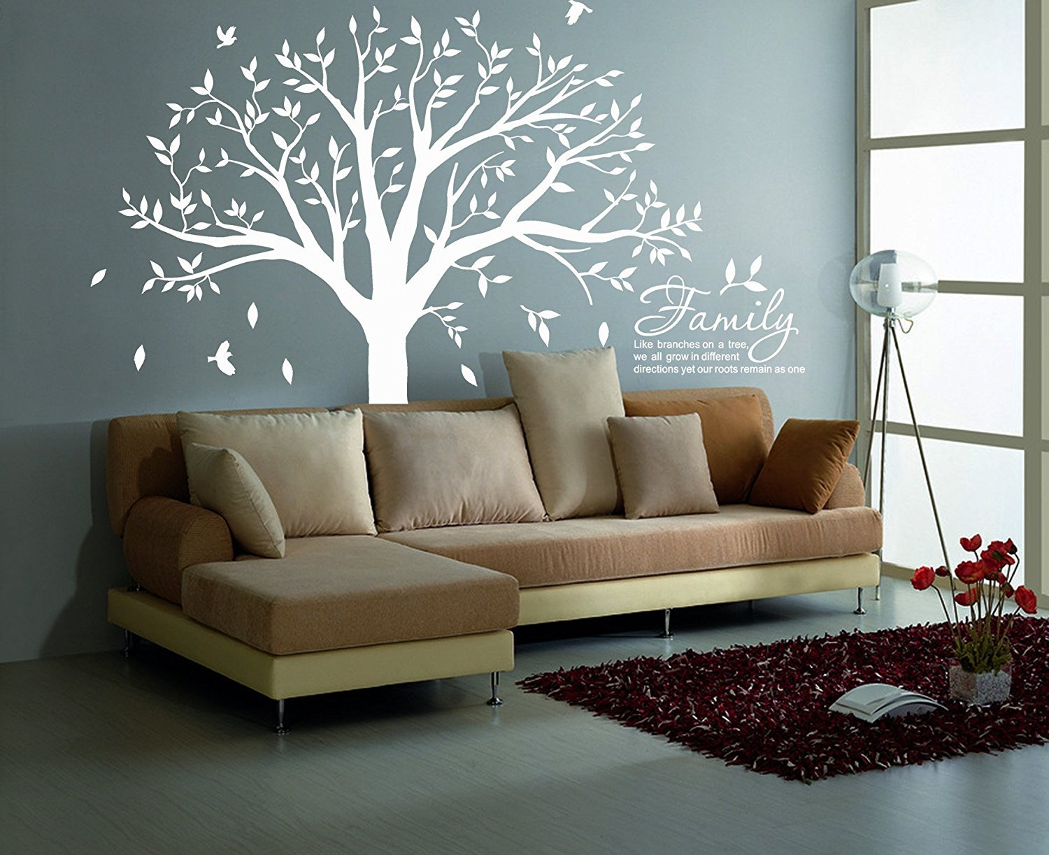 MAFENT Family Tree Wall Decal Quote- Family Like Branches On A Tree Lettering Tree Wall Sticker for Bedroom Decoration (White) by MAFENT (Image #4)