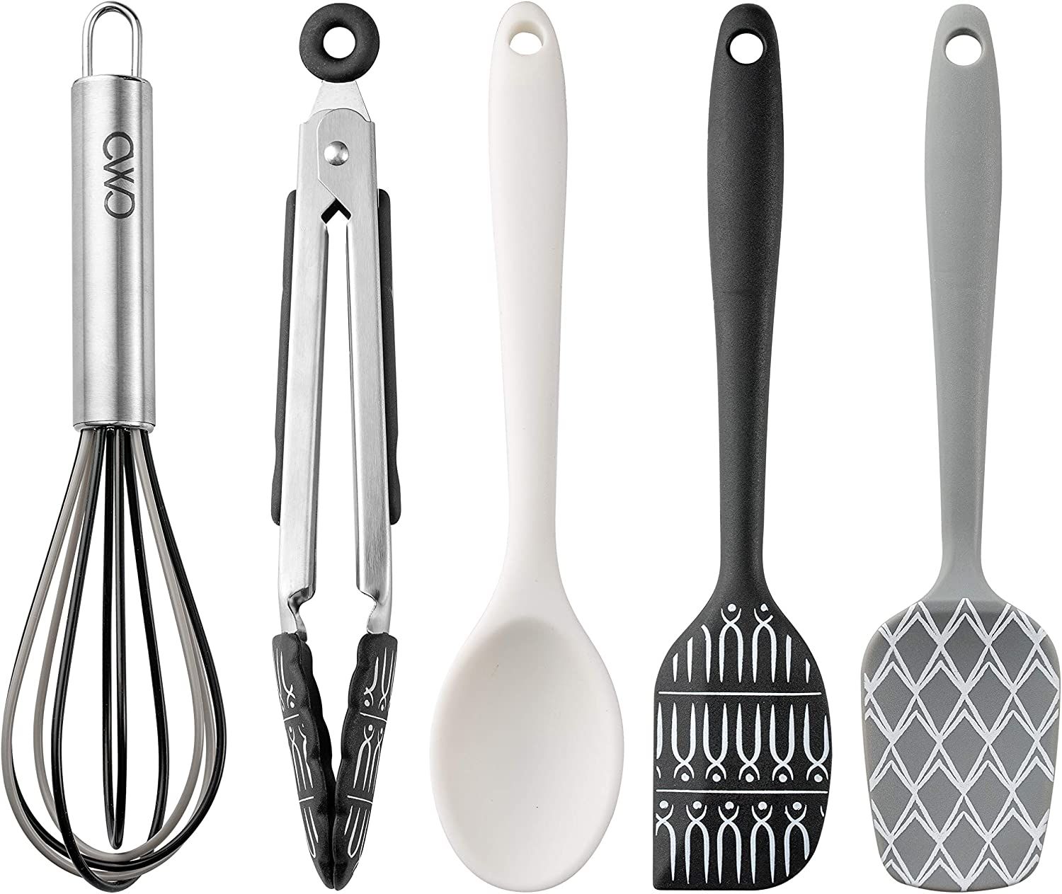 Cook With Color Set of Five MINI Kitchen Utensil Set - Silicone Kitchen Tools, Whisk, Tong, Spatula, Spoonula and Spoon (Black and White Collection)