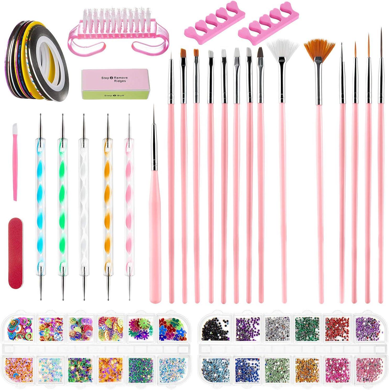 Kit de Decoración de Uñas, ZWOOS Kit de Diseño de Arte de Uña, Pincel Uñas Suministros de uñas, Accesorios para Uñas Decoración Uñas Kit Uñas Art, 38 unidades
