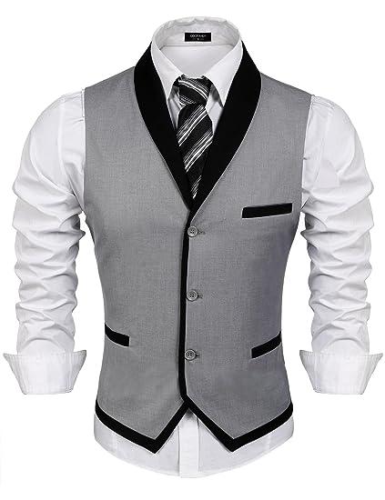 COOFANDY Gilet de Costume pour Homme Casual Mariage Business Veste sans  Manche - Gris - Taille 8aee4c2fb34