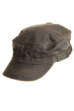 63abea9bd621aa Weathered Cotton Military Cadet Cap, BROWN, Size L/XL (7 1/4 - 7 5/8 ...