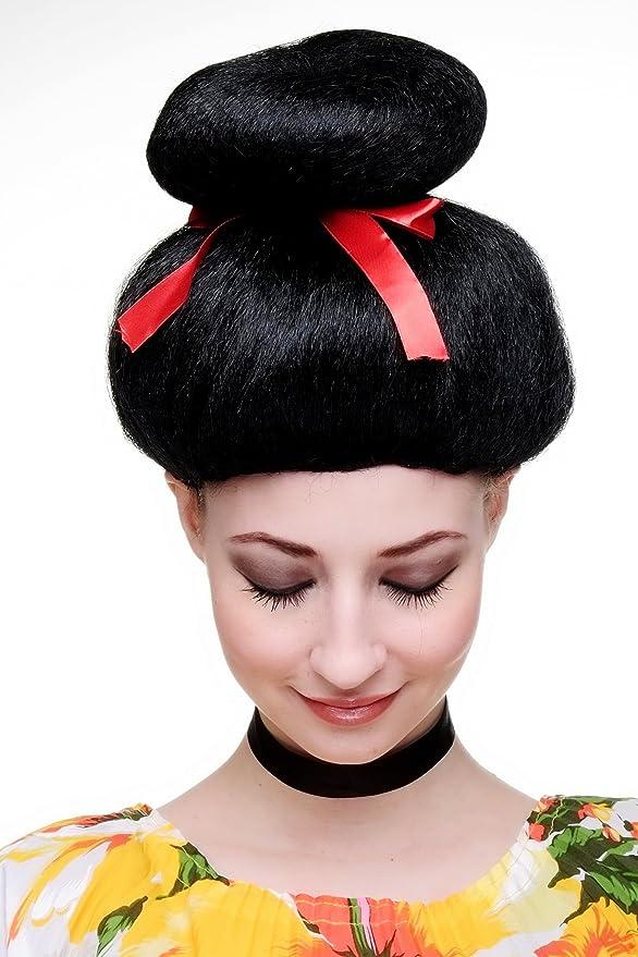 WIG ME UP Carnaval, Peluca, Geisha, Asia Japón, estilo Cosplay japonés, China Girl negro, 2120-P103: Amazon.es: Juguetes y juegos