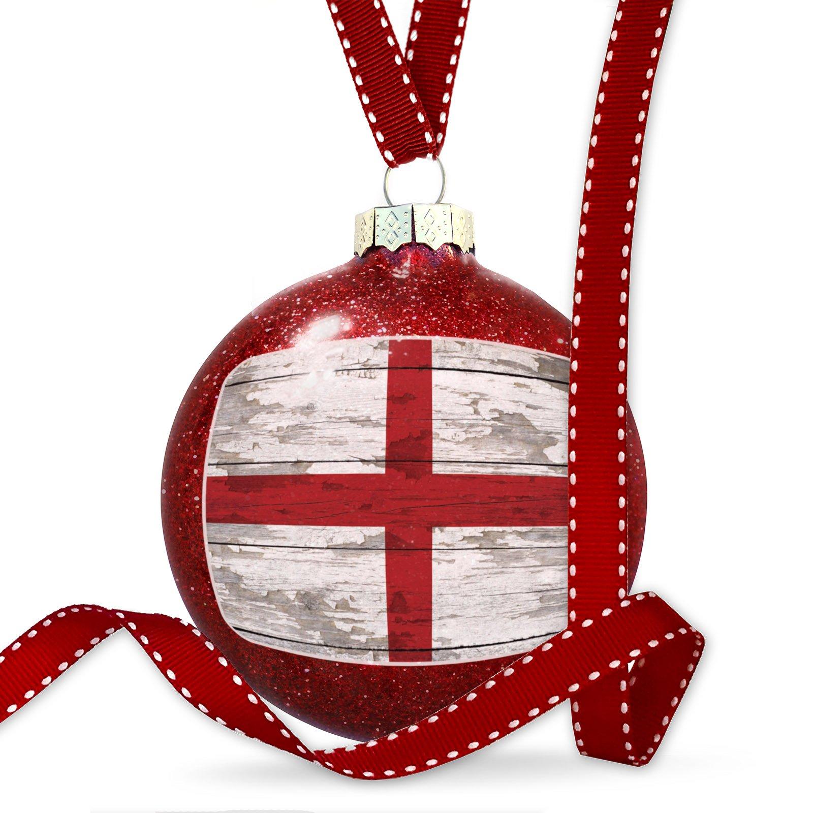 Christmas Decoration Flag on Wood England region: United Kingdom Ornament
