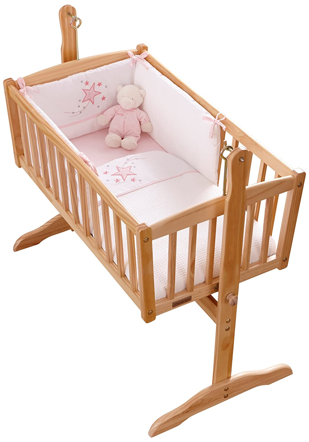 Clair de Lune Stardust Rocking Crib/Cradle Quilt and Bumper Set (Pink) BabyCenter CL4816P