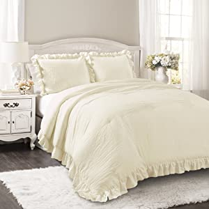 Lush Decor Reyna Comforter Ruffled 3 Piece Bedding Set with Pillow Shams, Full Queen, Ivory
