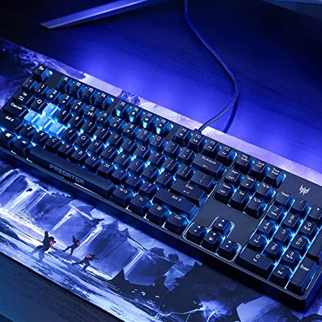 Acer Predator Aethon 300 Mechanical Gaming Keyboard: Cherry MX Blue Switches - 100% Anti-Ghosting - 104 Key Teal Blue Backlight with 10 Lighting ...