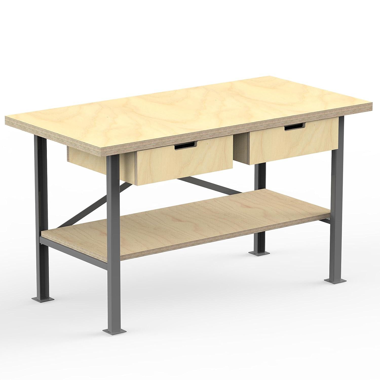 Industriequalit/ät AUPROTEC Profi-Werkbank 1500 x 700 x 850 mm mit Multiplex-Platte 40mm Werkbankplatte Massiv Multiplex Holz