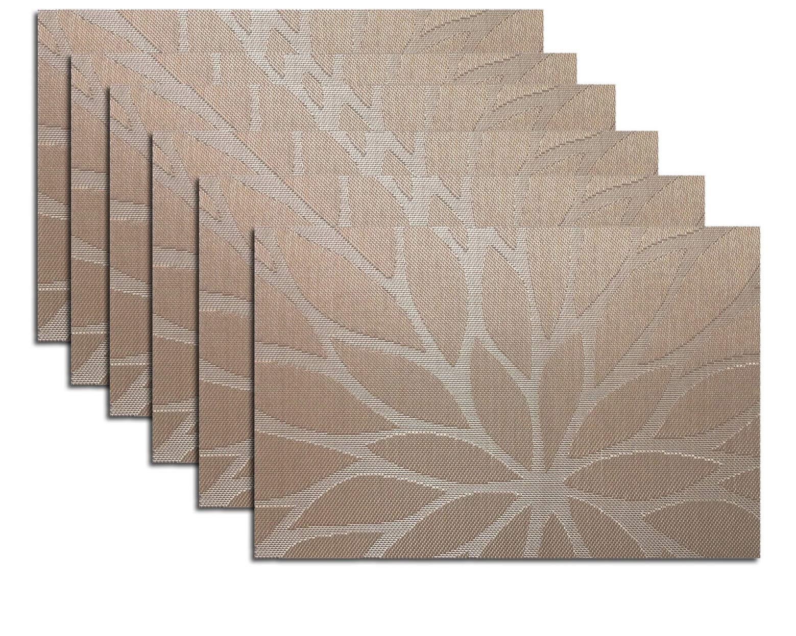 Tennove Placemats set of 6, Woven Vinyl Table Mats PVC Placemats for Kitchen Dining Table Decoration (Flower-Brown)