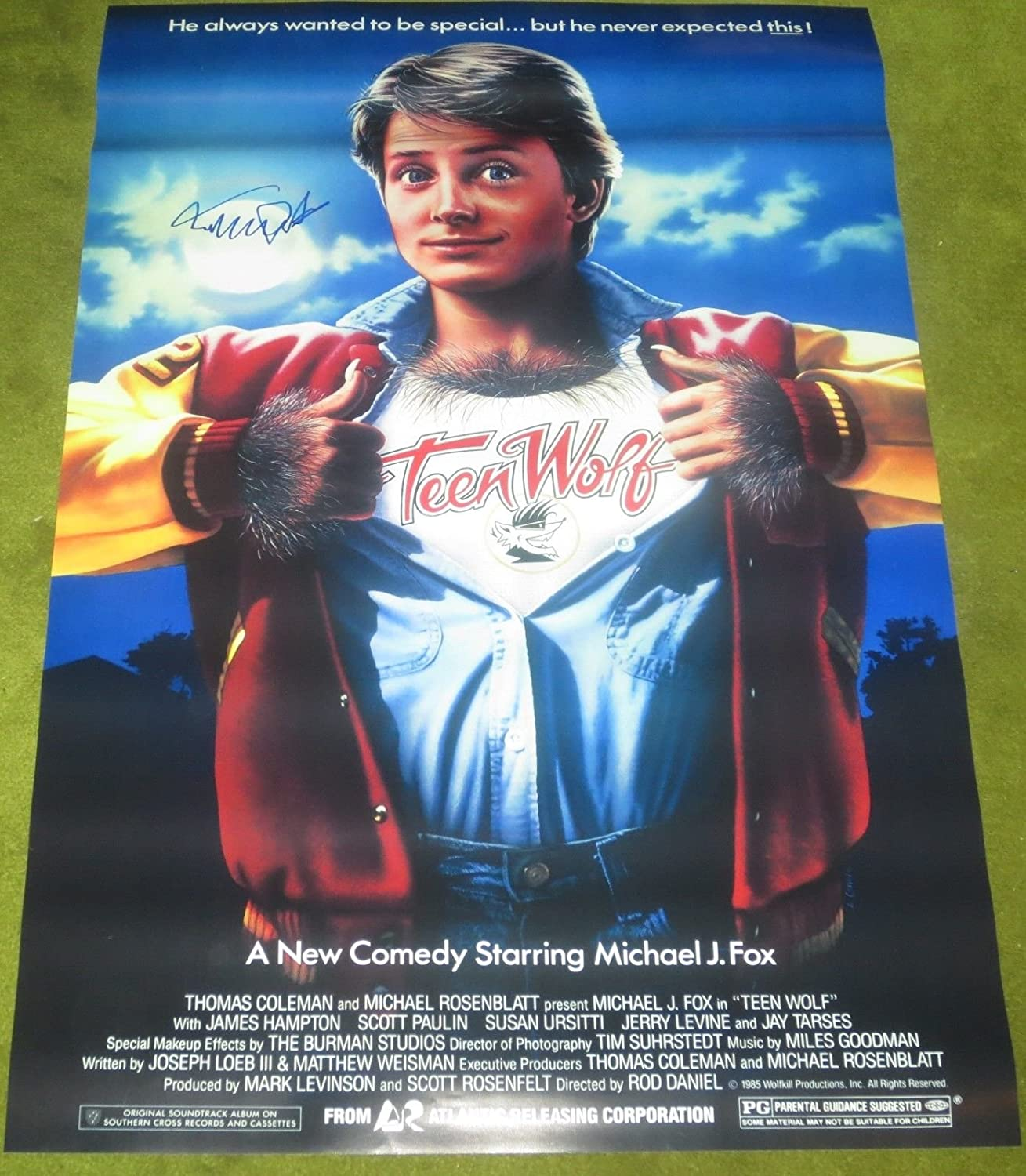 MICHAEL J FOX TEEN WOLF SIGNED MOVIE POSTER 27X40 AUTHENTIC AUTOGRAPH PROOF  COA at Amazon's Entertainment Collectibles Store