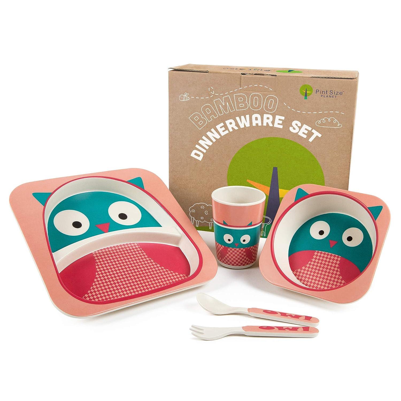 Girl's Pink Bee Bamboo Fiber Dinnerware Set Baby Toddler Plate Kids Tableware