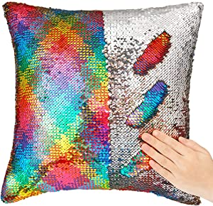 """ICOSY Mermaid Sequin Pillow Case, Mermaid Toy Pillow Cover Decorative Cushion Cover Reversible Sequin Pillowcase Home Decor 16""""x16"""""""