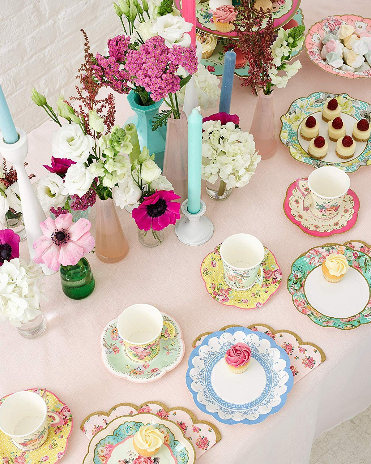 Talking Tables Vintage Floral Tea Party Supplies | Scalloped Paper Plates, Napkins, Tea Cups and Saucer Sets | Also Great for Wedding Parties, Bridal Shower, Baby Shower and Birthday Party by Talking Tables (Image #3)