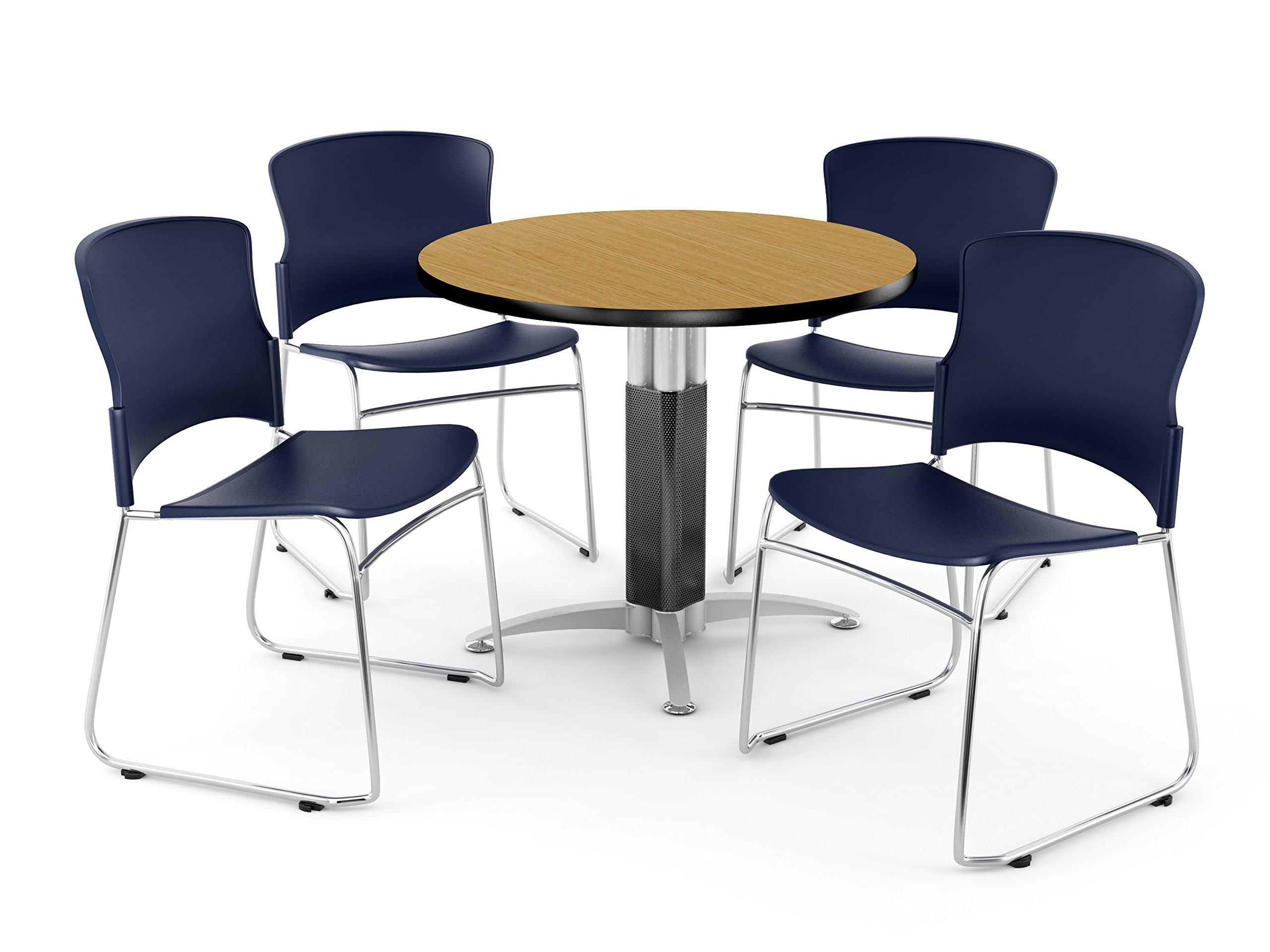 OFM PKG-BRK-027-0016 Breakroom Package, Oak Table/Navy Chair