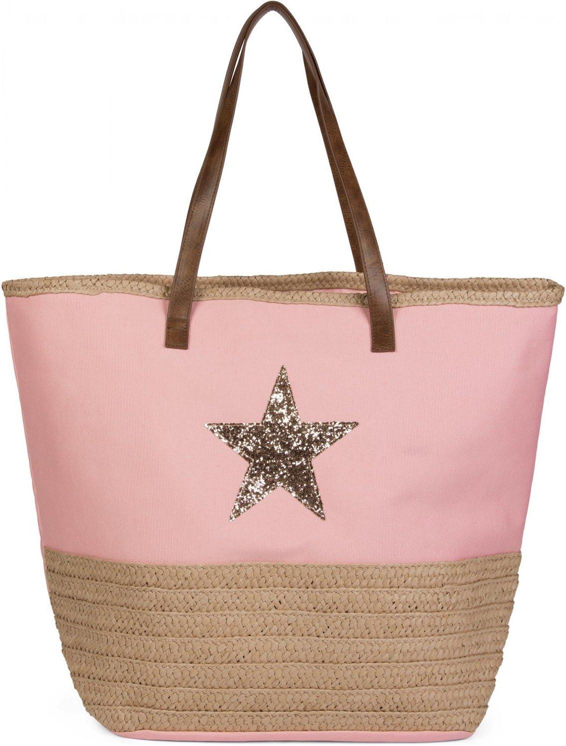 styleBREAKER Bolso para la Playa con Lentejuelas, Estrella y Rafia, Bolso de Hombro, Bolso de Tipo «Shopper», Bolso de baño, señora 02012058, Color:Rosa