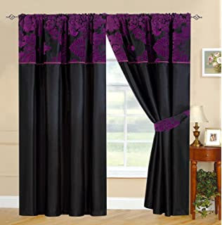 Rococo Black Lined Faux Silk Ready Made Curtain Pair 90