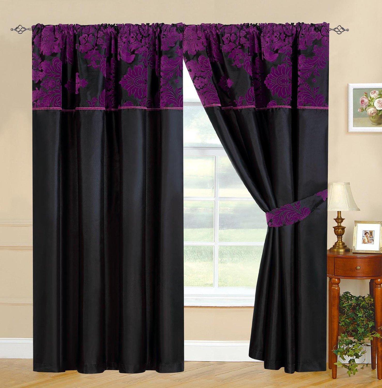 Purple silk curtains - Purple Curtains Black Purple Curtains Royal Damask Curtains Pencil Pleat Faux Silk Curtains 66x72 W168cm