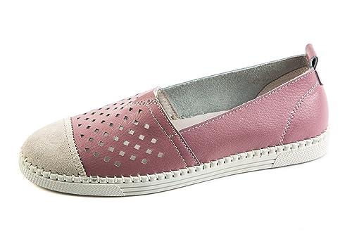 BM3-041 - Mocasines de Piel Lisa para Mujer Rosa Rosa 37 EU, Color Rosa, Talla 37 EU: Amazon.es: Zapatos y complementos