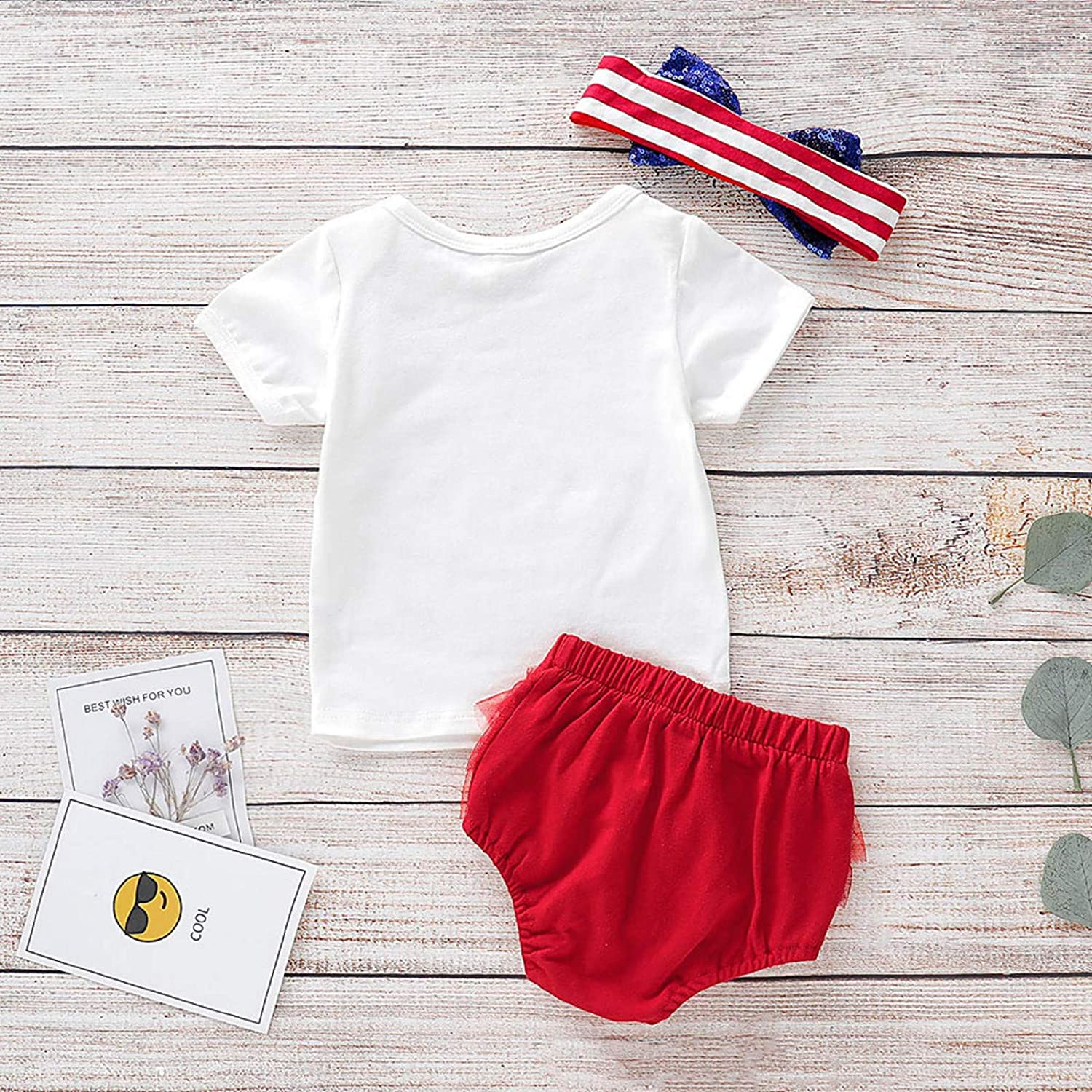 Amazon.com: 3 PCS 4th of July Baby Toddler Girl American Flag Romper ...