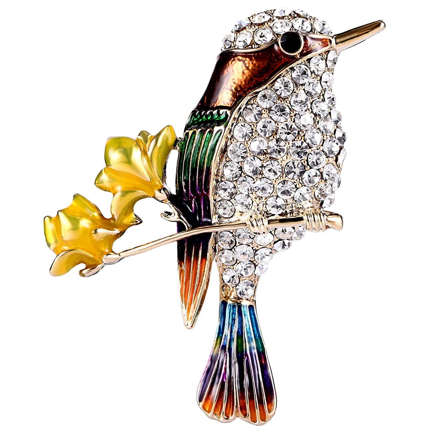 EVER FAITH Austrian Crystal Enamel Humming Bird on 2 Flowers Branch Brooch Clear Gold-Tone N09982-3