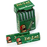 8 booklets x Zig Zag Green Cut Corners Regular Size 70mm Multipack of Papers
