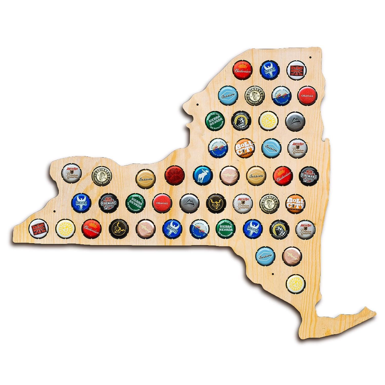 New York Beer Cap Map - Holds Craft Beer Bottle Caps - Prefect guy gift - men fathers day - NY beer (Natural) San Diego Laser Studio LongIsland