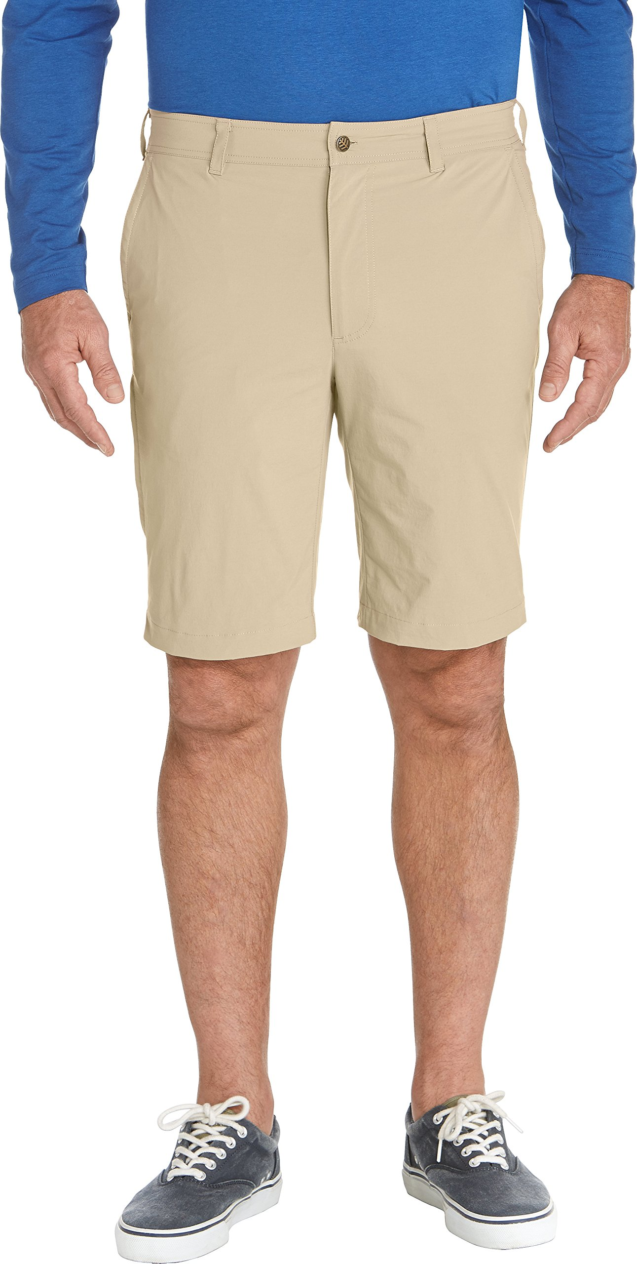 Coolibar UPF 50+ Men's Summer Casual Shorts - Sun Protective (34- Washed Tan)