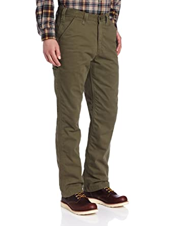 a36213abdf Amazon.com: Carhartt Men's Washed Twill Dungaree Flannel Lined: Casual  Pants: Clothing