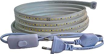 Blanco Fr/ío, 2 Metros + Enchufe Tira Led de 220v 5050 IMPERMEABLE Blanco Fr/ío o C/álido Waterproof IP67 strip