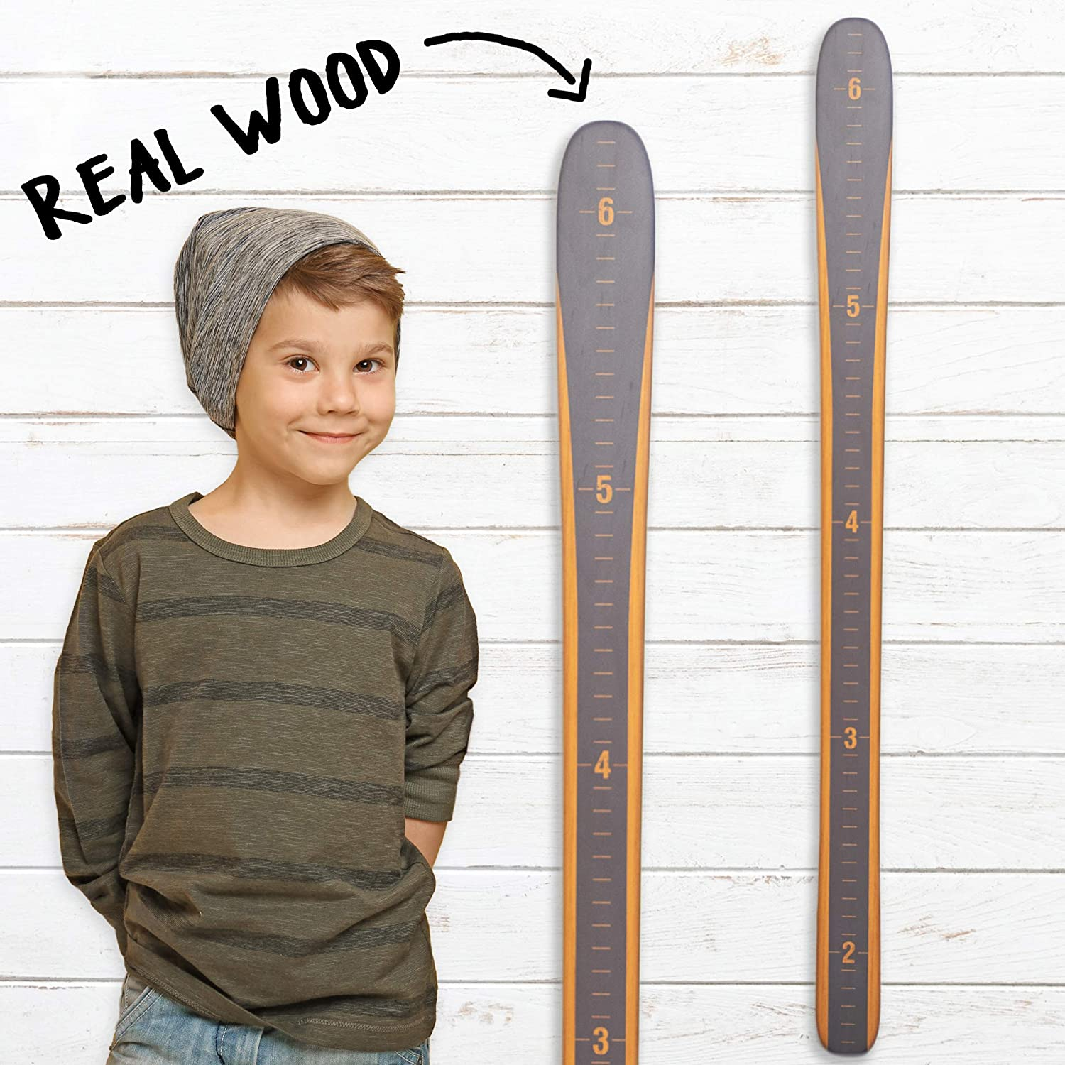 Vintage Gray Wall Hanging Wood Height Chart for Measuring Kids Girl Baby Skis Wooden Ski Growth Chart Children Modern Vintage Growth Chart Art Boys Ski Gifts