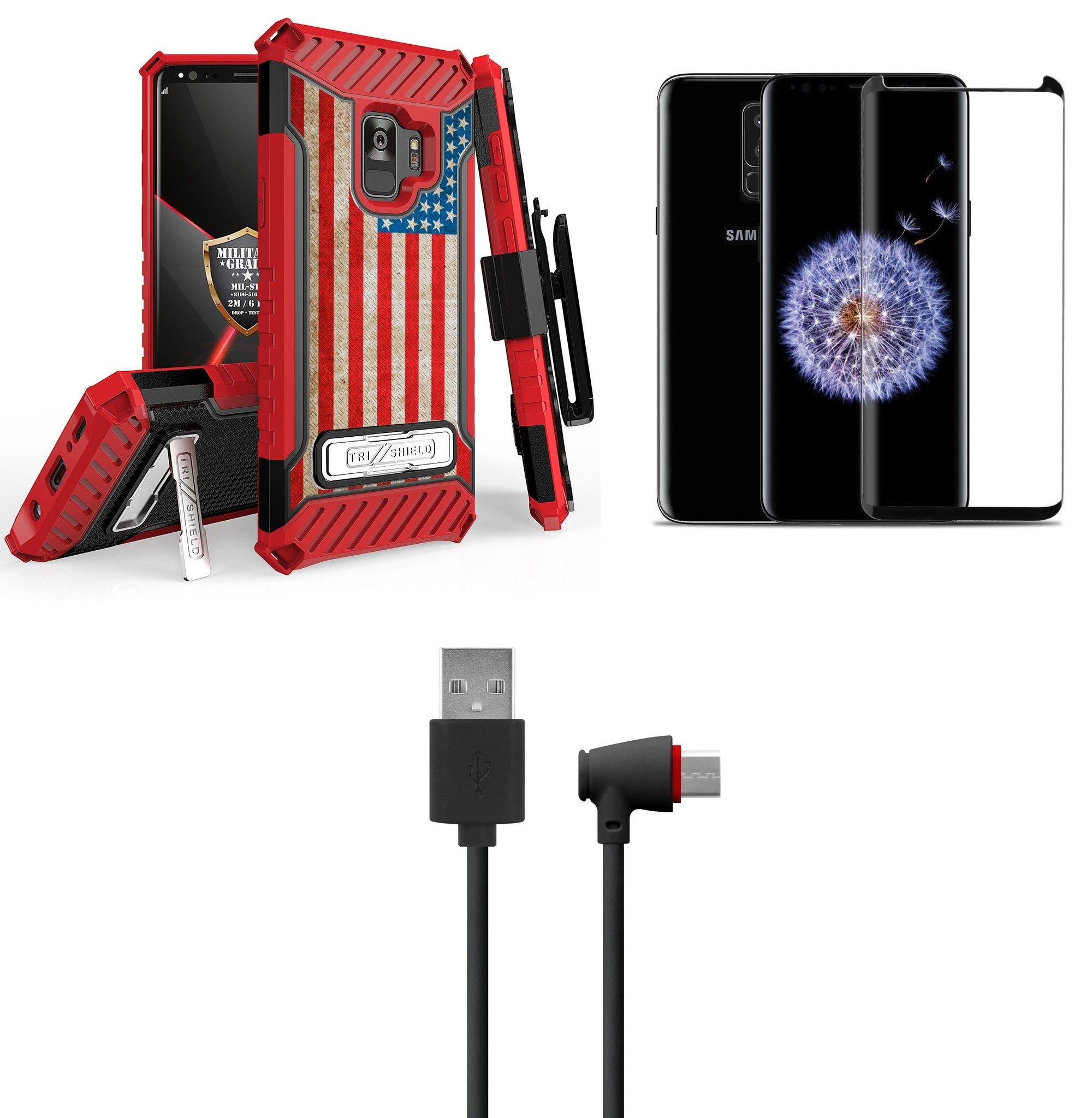 Vintage America with Bubble-Free Tempered Glass Screen Protector Atom Cloth Samsung Galaxy S9+ Plus Bundle: Tri Shield Belt Holster Clip Case Military Grade - MIL-STD 810G-516.6