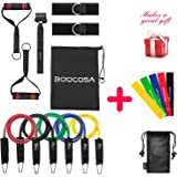 Resistance Bands - 17 pcs With Door Anchor, Ankle Straps, Handles ,Starter Guide And Carrying Bag For Chest Shoulders Back Leg Abs Biceps Triceps Workout By BOOCOSA (Heavyweight) (Heavyweight)