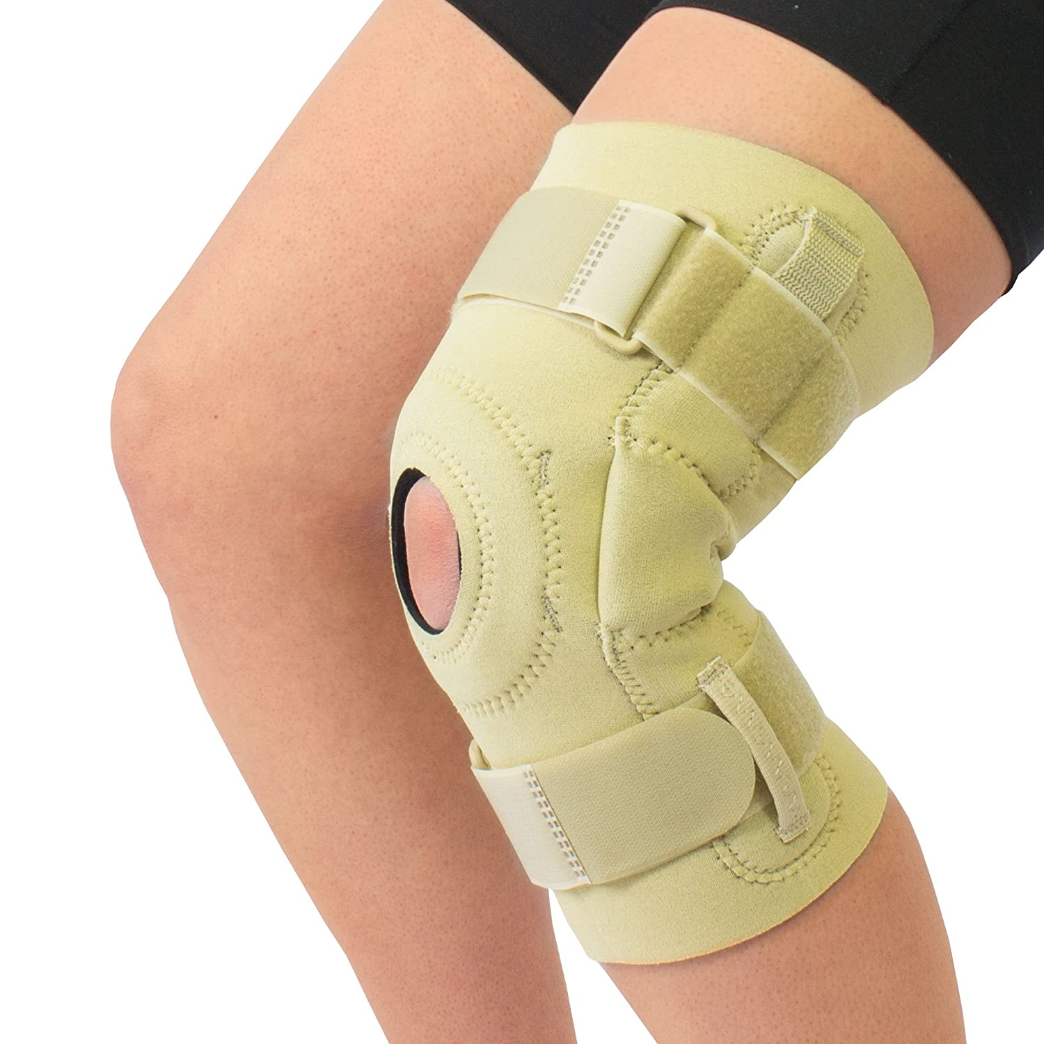 a529732eff Amazon.com: Neoprene Cushioned Hyperextension Hinged Knee Brace Support  Beige and Black (X-Large, Beige): Health & Personal Care